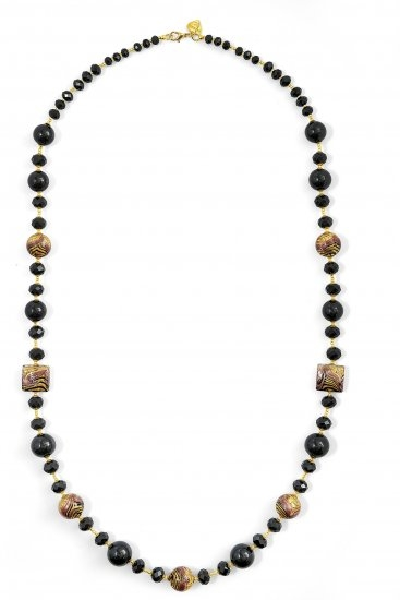 Murano Glass Necklace Black Long