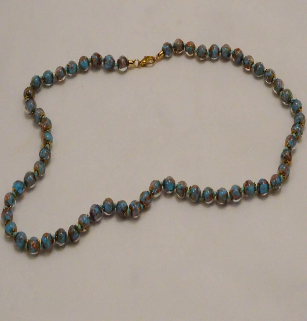 Murano Glass Necklace Blue/Gold