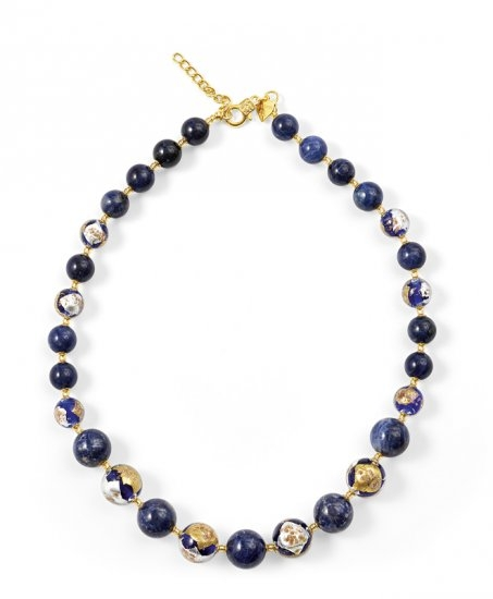 Murano Glass Necklace Blue With Sodalite