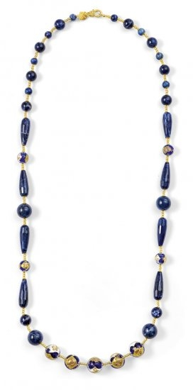 Murano Glass Necklace Blue With Sodalite Long