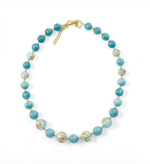 Murano Glass Necklace Light Blue With Angelite
