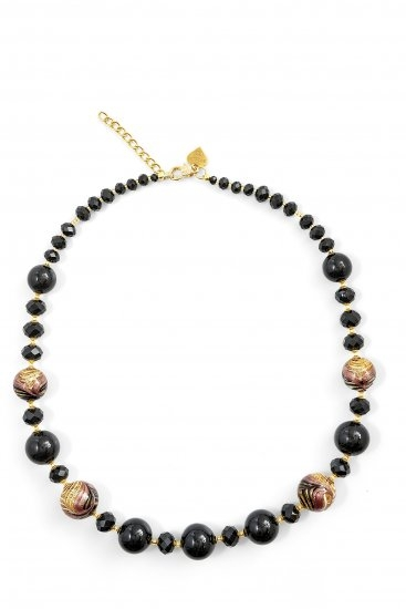 Murano Glass Necklace Short Black