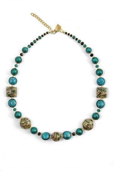Murano Glass Necklace Turquoise/Green