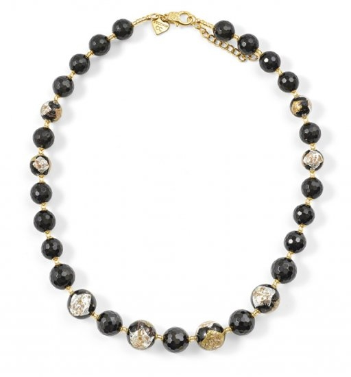 Murano Glass Necklace With Black Onyx