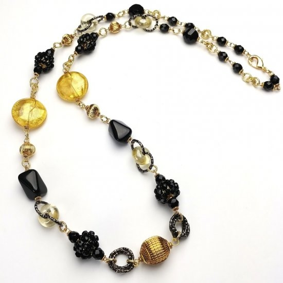 Mursno Glass Necklace Black/Gold
