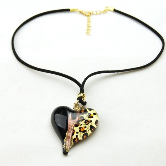 Leopard Murano Glass Pendant Heart Black