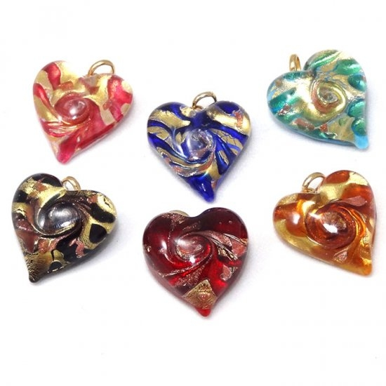 Murano Glass Heart Pendants Assorted
