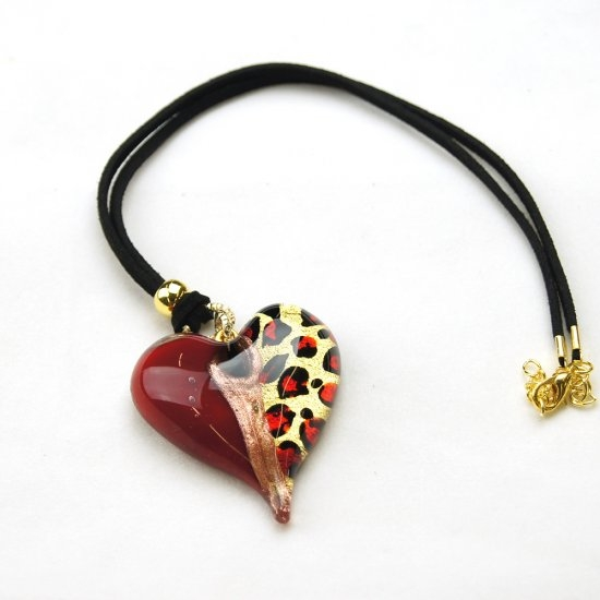 Leopard Murano Glass Pendant Heart Red