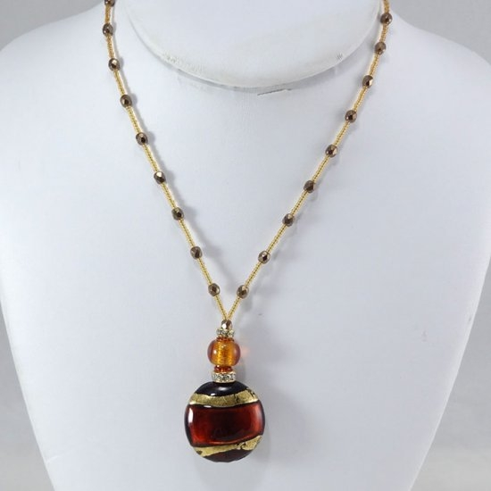 Murano Bead Necklace Amber