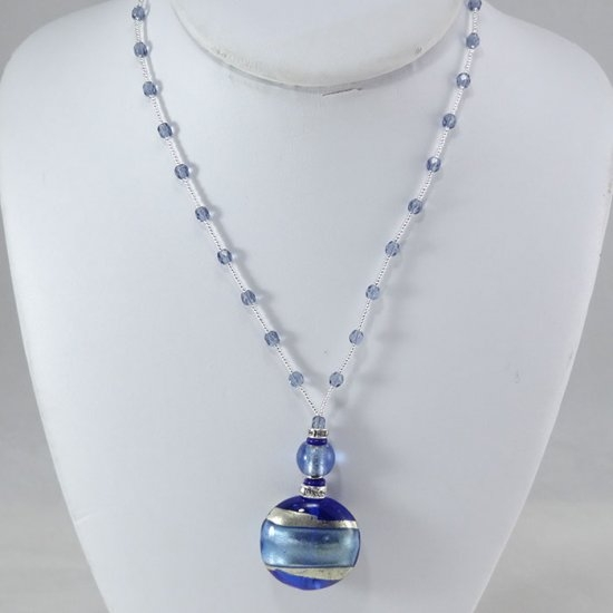 Murano Bead Necklace Blue
