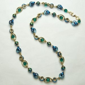 Murano Glass Necklace Long Blue