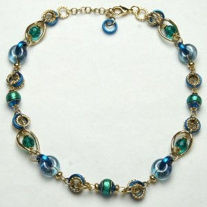 Murano Glass Necklace Short Blue