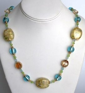Murano Glass Necklace Turquoise
