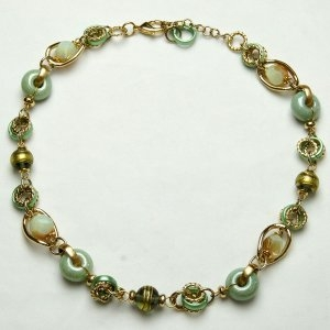 Murano Glass Necklace Short Green