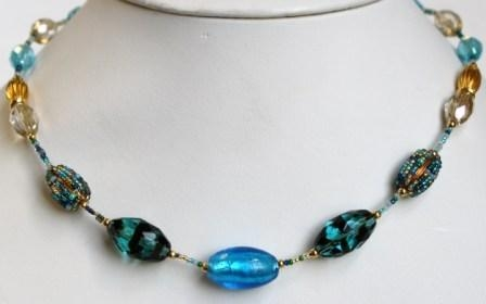 Glamor Blue Murano Necklace (Short)