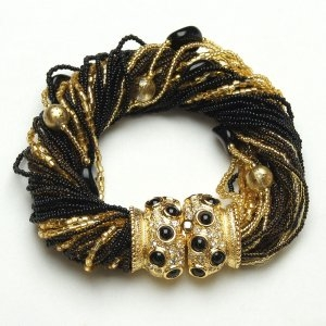 Angelica Murano Glass Bracelet Black/Gold