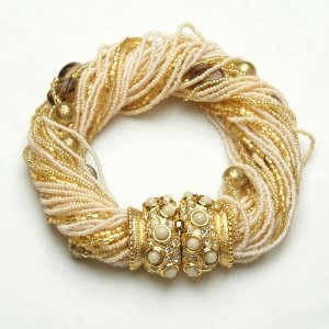Angelica Murano Glass Bracelet White/Gold