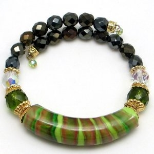 Arkadia Murano Glass Bracelet Green