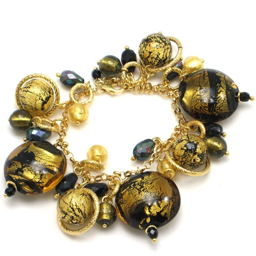 c3af729c6 Vintage Charm Bracelet Black Gold - Murano Glass Jewelry - Murano ...