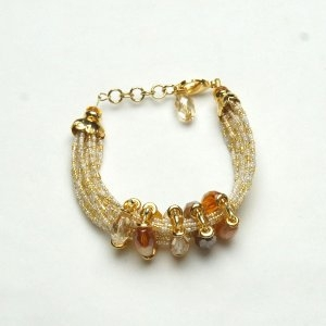 Luxurious Murano Glass Bracelet White/Amber
