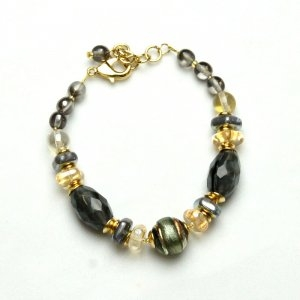 Murano Glass Bracelet Gray