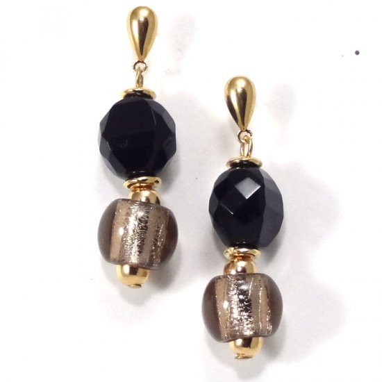 Murano Glass  Earring Black