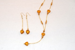 Amber murano glass dangle heart necklace and earrings