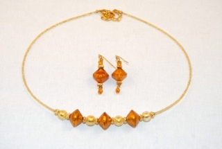 Amber murano glass diamond and globe necklace and earrings