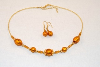 Amber murano glass oval and globes necklace and earrings