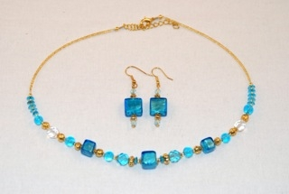 Aqua murano glass cubes and globes necklace and earrings