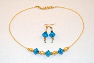 Aqua murano glass diamond and globe necklace and earrings