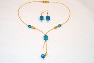 Aqua murano glass square dangle necklace and earrings