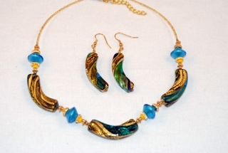 Aqua murano glass three arches necklace and earrings