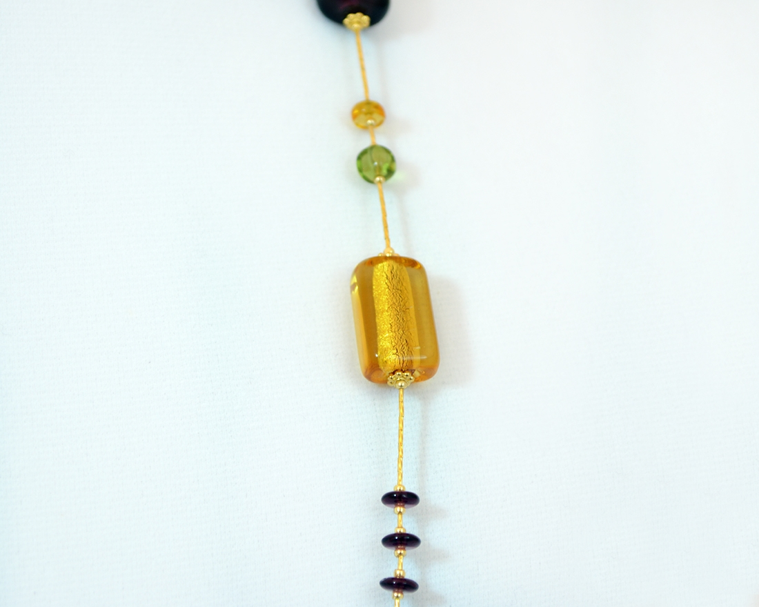 Beaded murano glass stagioni autumn necklace