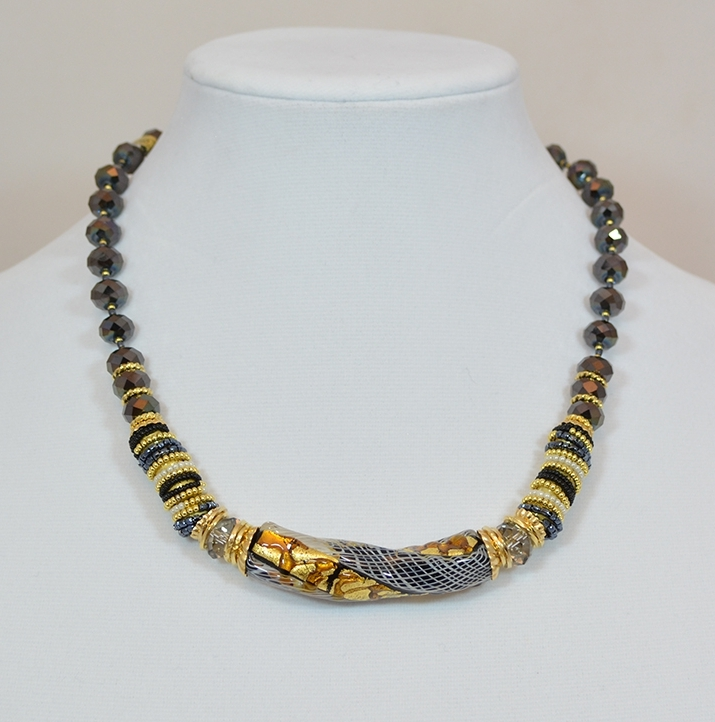 Black and Gold murano glass bead and twisted pendant necklace