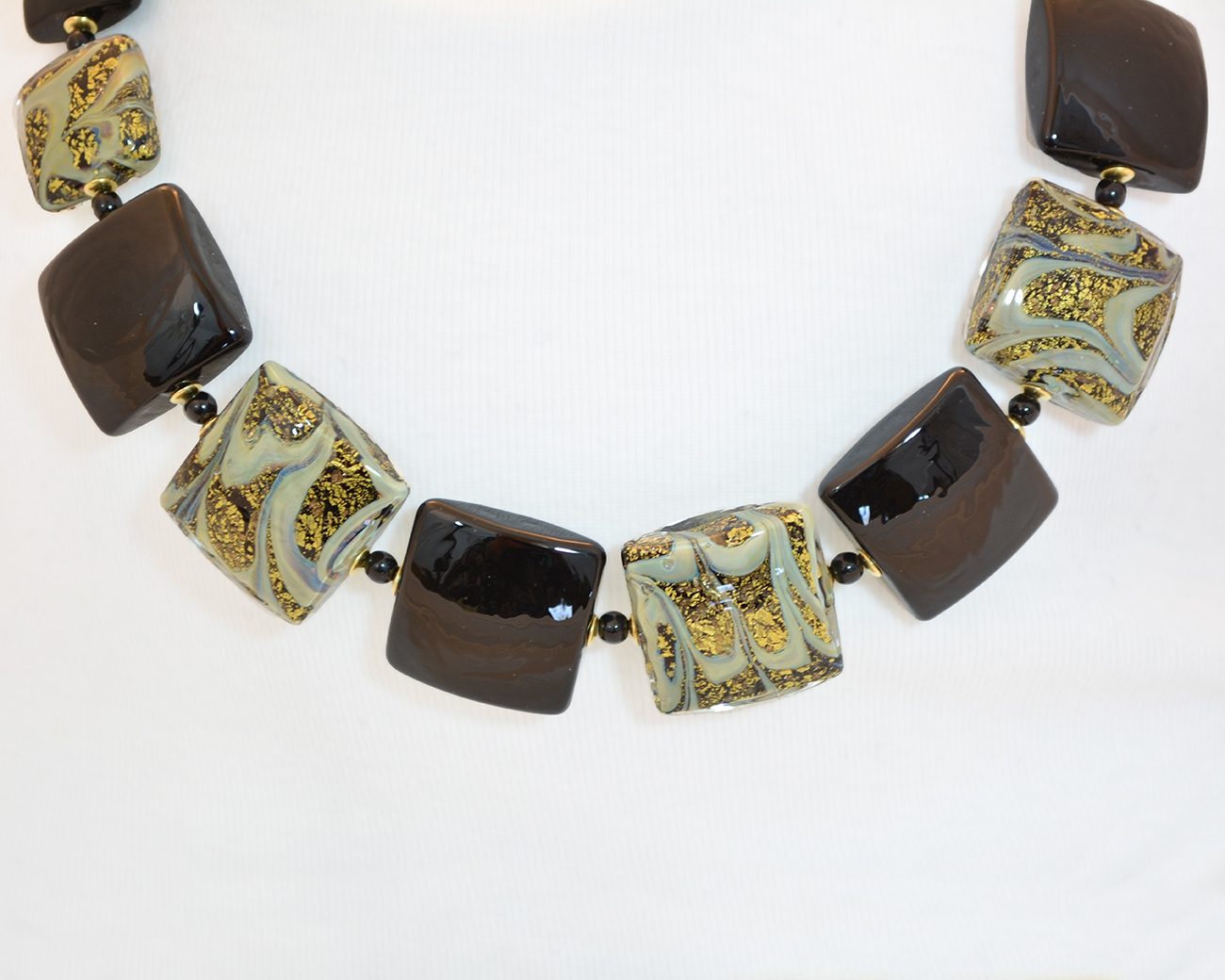 Black and Gold Square Bead Necklace