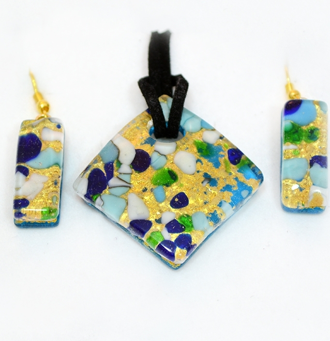 Blue and gold murano pendant and earrings set murano glass jewelry blue and gold murano pendant and earrings set aloadofball Choice Image