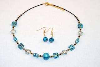 Cubes, oblongs and globes aqua murano glass necklace and earrings set