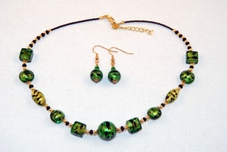 Cubes, oblongs and globes emerald murano glass necklace and earrings set