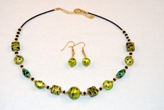 Cubes, oblongs and globes lime murano glass necklace and earrings set