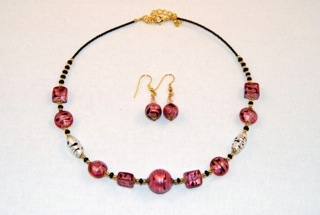 Cubes, oblongs and globes pink murano glass necklace and earrings set