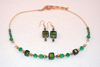 Emerald murano glass cubes and globes necklace and earrings