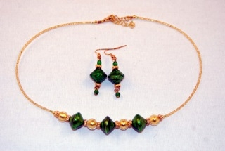 Emerald murano glass diamond and globe necklace and earrings