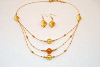 Gold 3 tiers murano glass necklace and earings set
