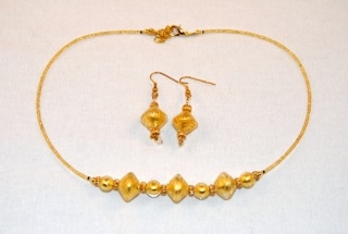 Gold murano glass diamond and globe necklace and earrings