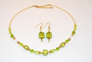 Lime murano glass cubes and globes necklace and earrings