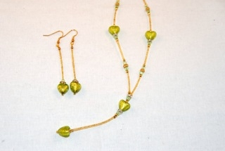 Lime murano glass dangle heart necklace and earrings