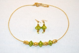 Lime murano glass diamond and globe necklace and earrings