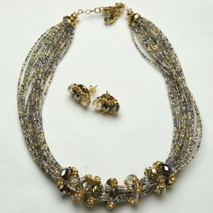 Luxurious Murano Glass Necklace Gray/Gold