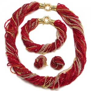Murano Glass Twist Necklace Red